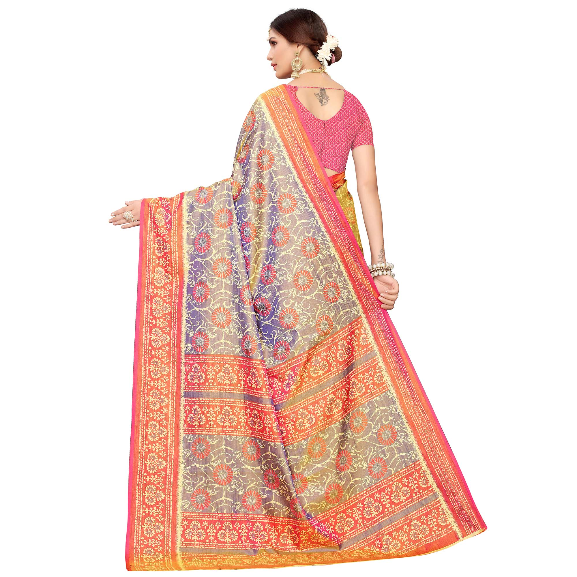 Marvellous Gray Colored Casual Printed Art Silk Saree
