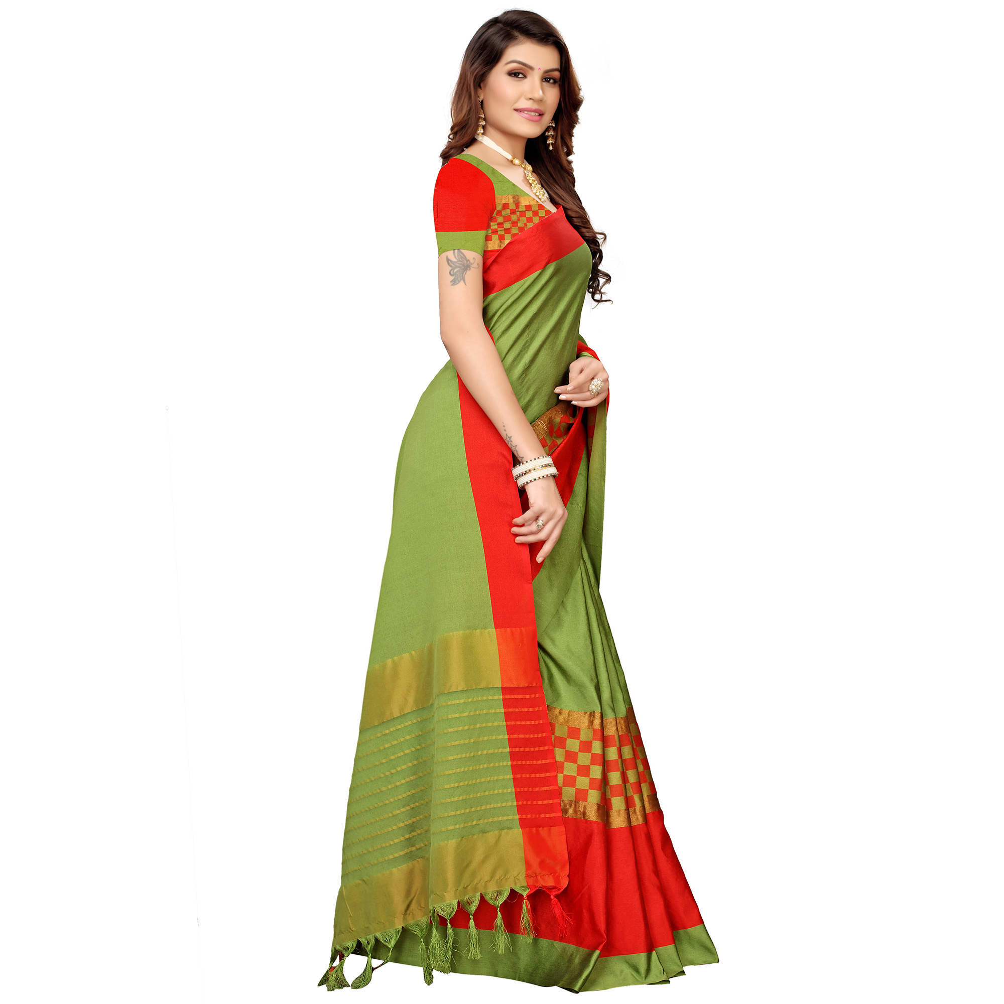 Groovy Olive Green Colored Festive Wear Woven Cotton Silk Saree