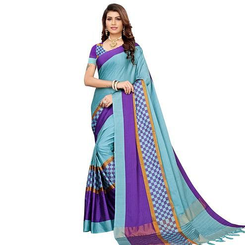 Prominent Rama Blue Colored Festive Wear Woven Cotton Silk Saree