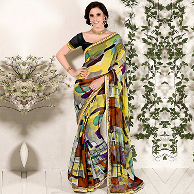 Yellow Multi-Color Printed Saree