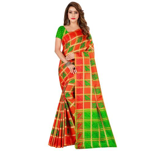 Sophisticated Orange Colored Casual Wear Cotton Silk Saree