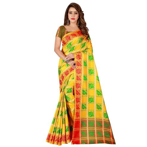 Trendy Yellow Colored Casual Wear Cotton Silk Saree