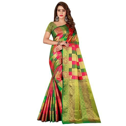 Elegant Pink-Green Colored Festive Wear Art Silk Saree