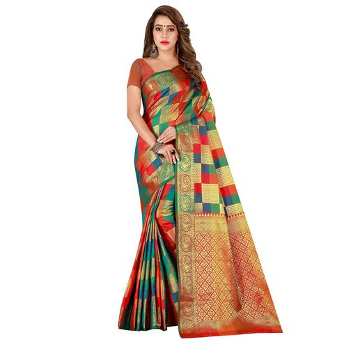 Radiant Green-Multi Colored Festive Wear Art Silk Saree