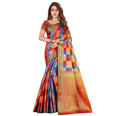 Pleasant Red-Multi Colored Festive Wear Art Silk Saree