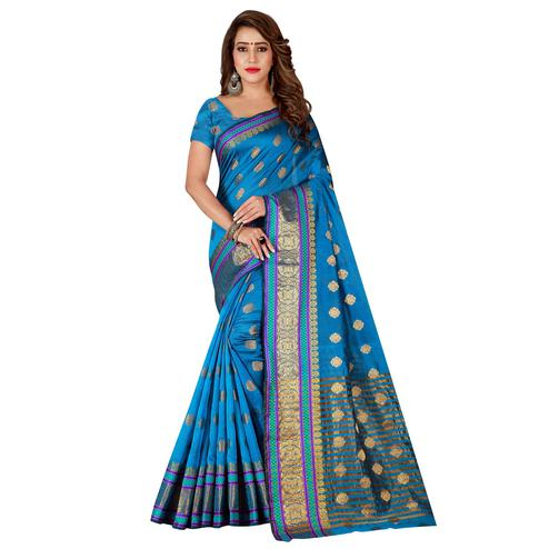 Opulent Firozi Colored Festive Wear Silk Saree