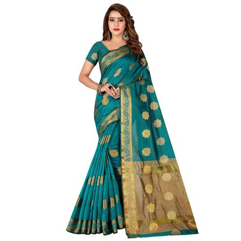 Energetic Rama Green Colored Festive Wear Silk Saree
