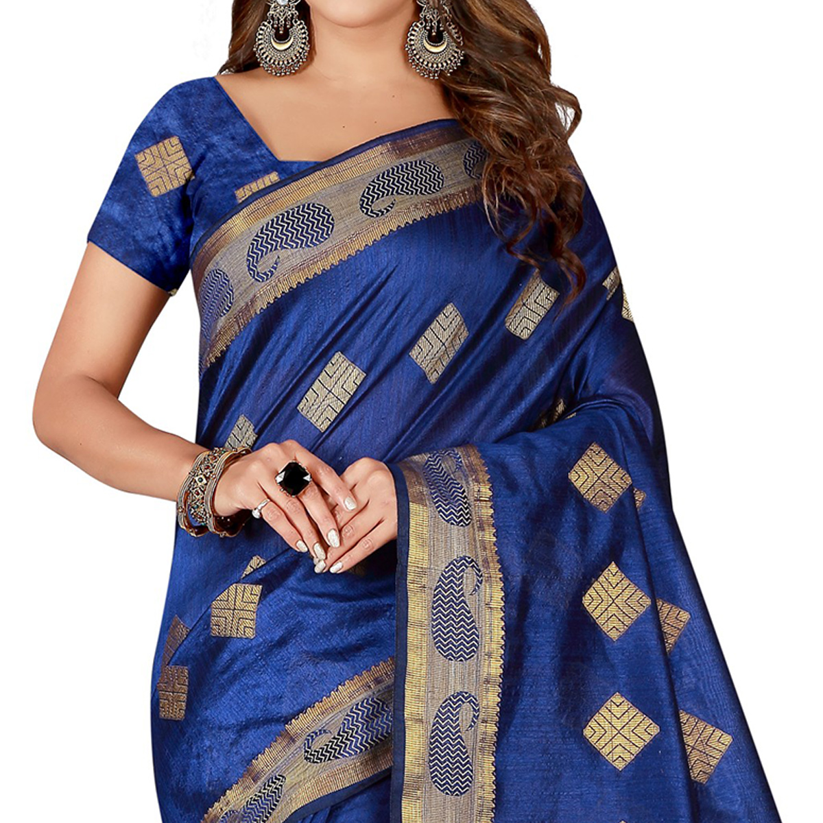 Glowing Royal Blue Colored Festive Wear Silk Saree
