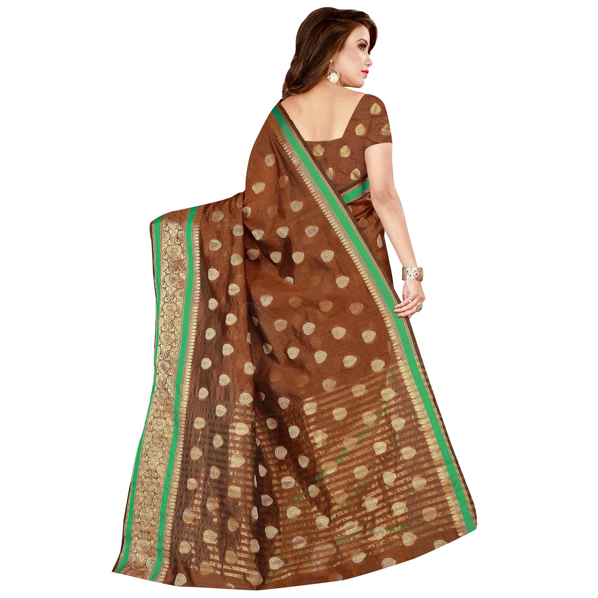 Exceptional Brown Colored Festive Wear Silk Saree