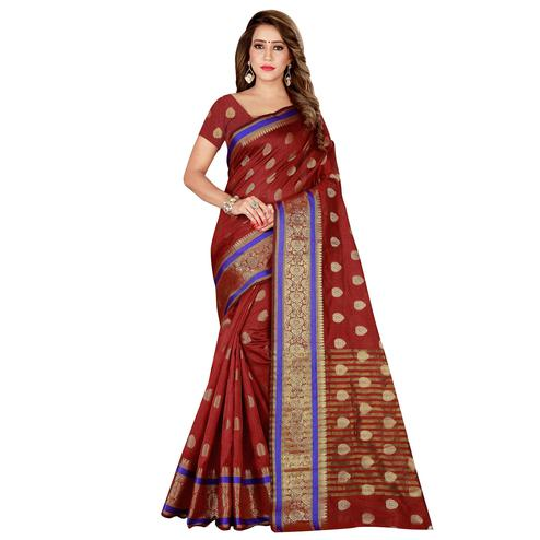 Gleaming Maroon Colored Festive Wear Silk Saree