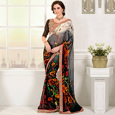 Grey - Black Floral Print Georgette Saree
