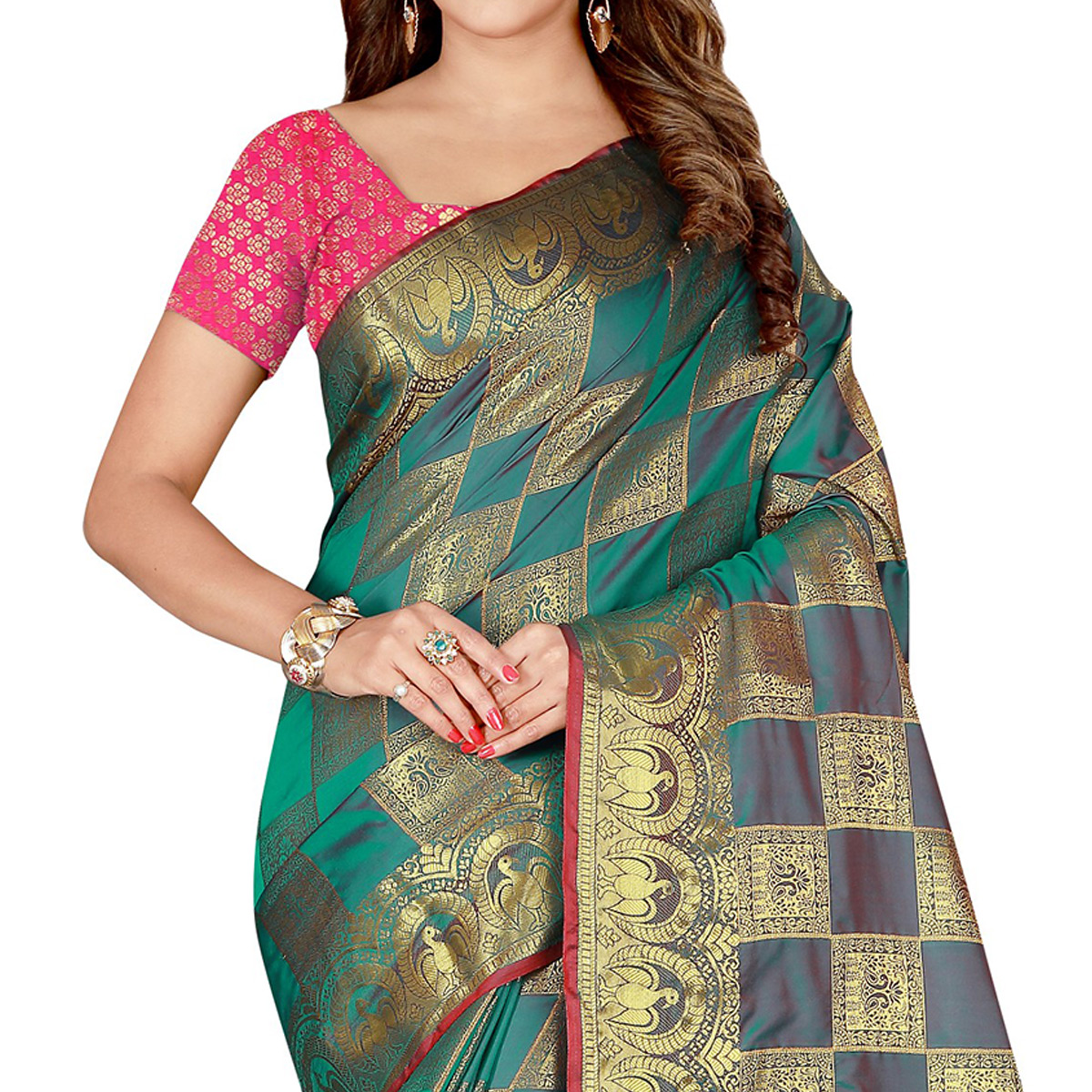 Mesmeric Turquoise Green Colored Festive Wear Art Silk Saree