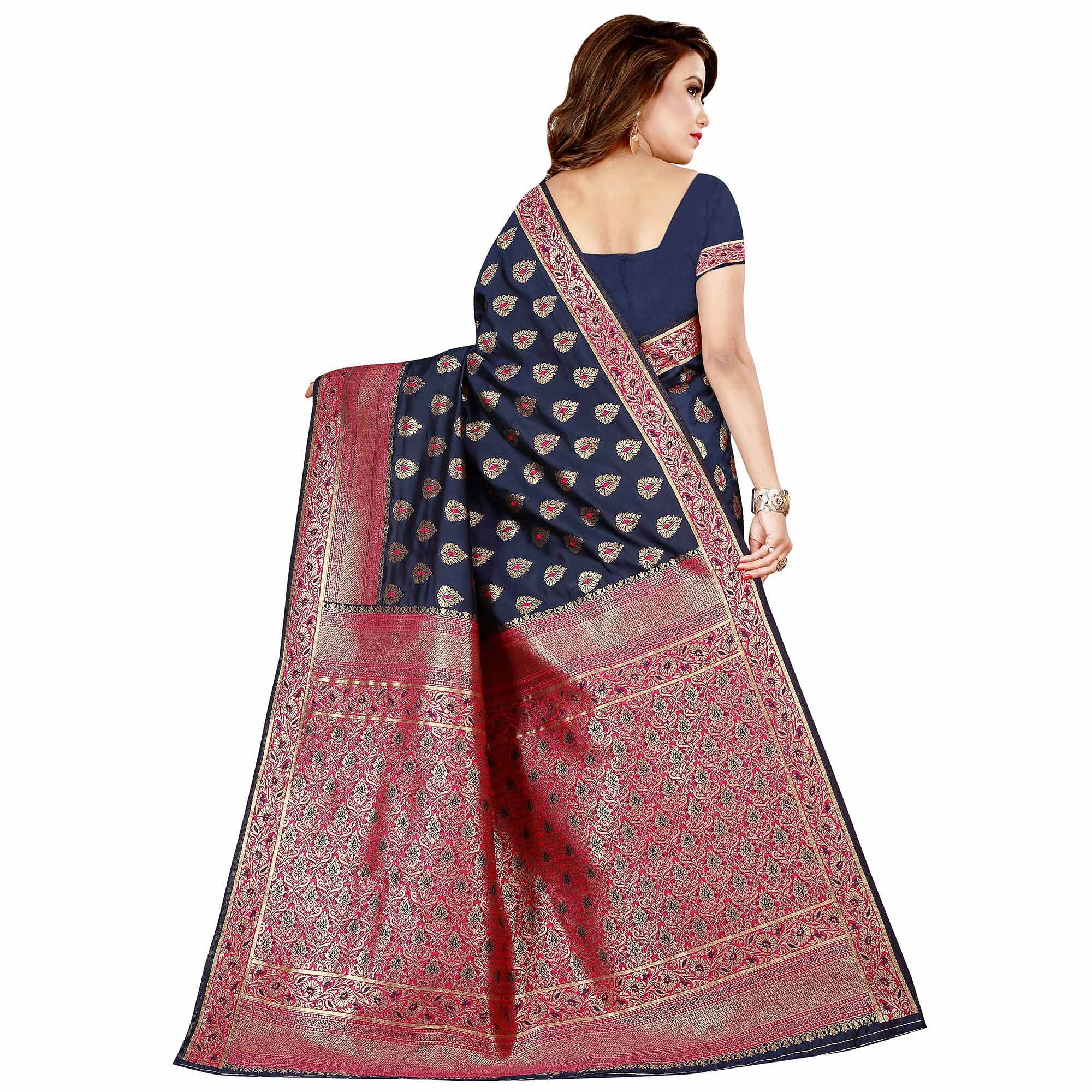 Refreshing Navy Blue Colored Festive Wear Banarasi Silk Saree
