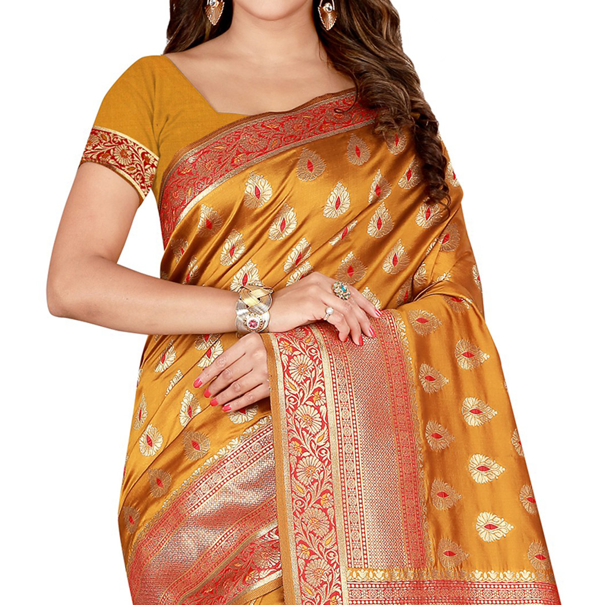 Magnetic Gold Colored Festive Wear Banarasi Silk Saree