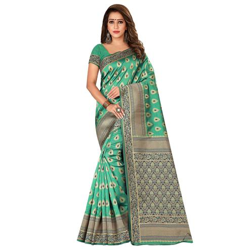 Hypnotic Green Colored Festive Wear Banarasi Silk Saree