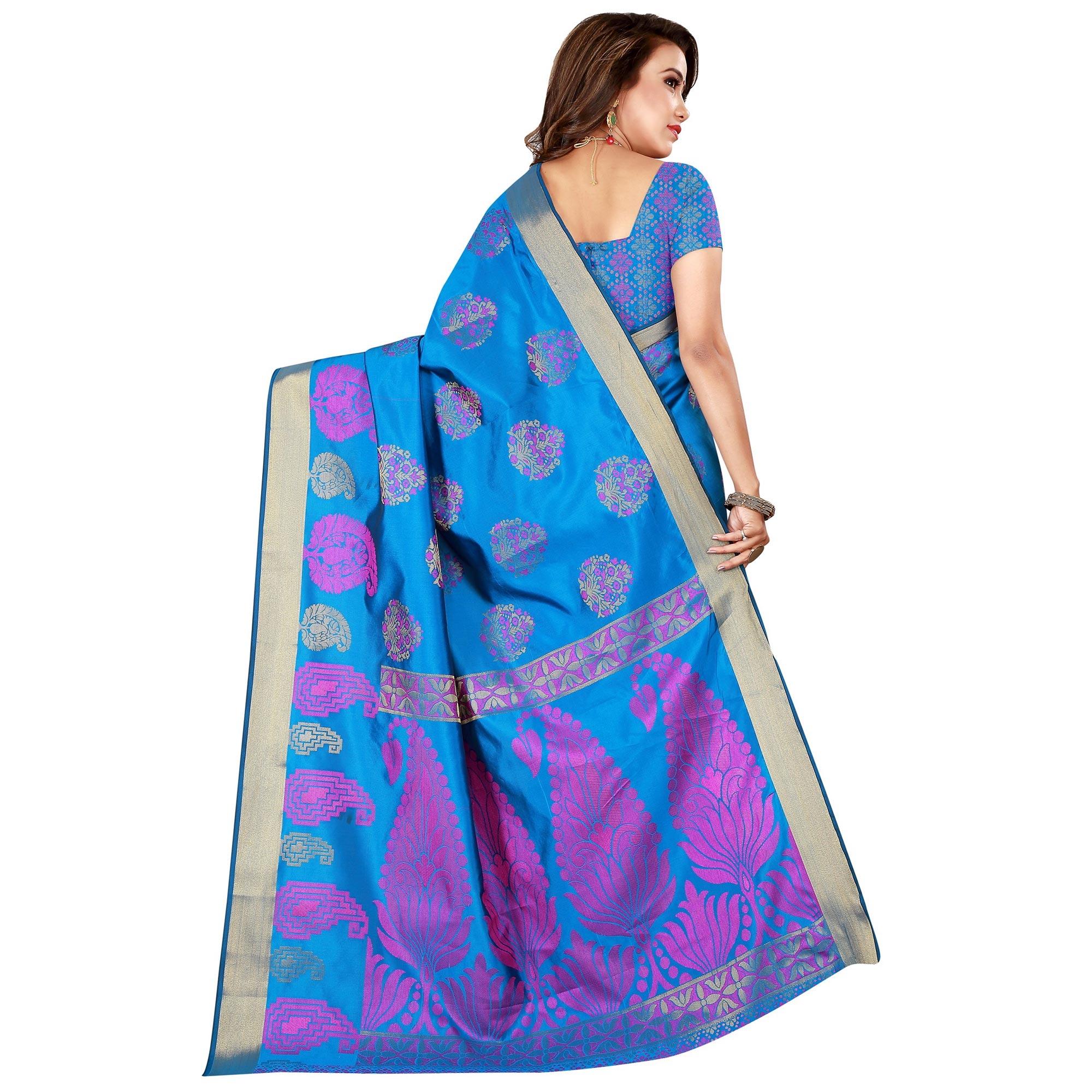 Preferable Firozi Colored Festive Wear Woven Silk Saree