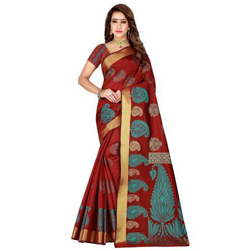 Marvellous Maroon Colored Festive Wear Woven Silk Saree