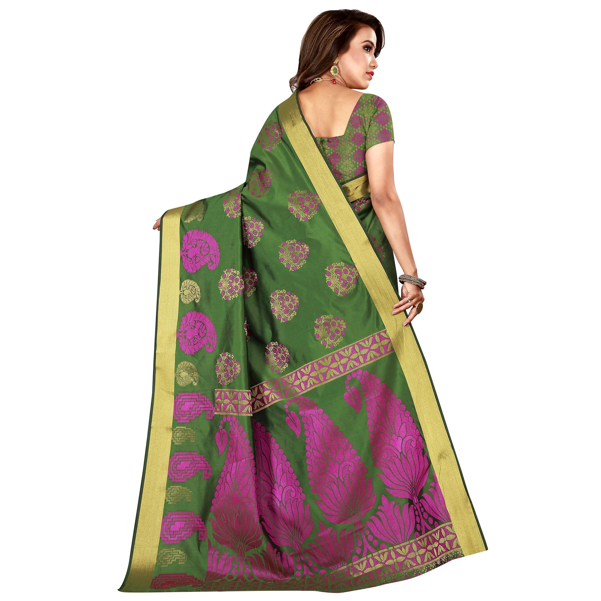 Flamboyant Mehandi Green Colored Festive Wear Woven Silk Saree