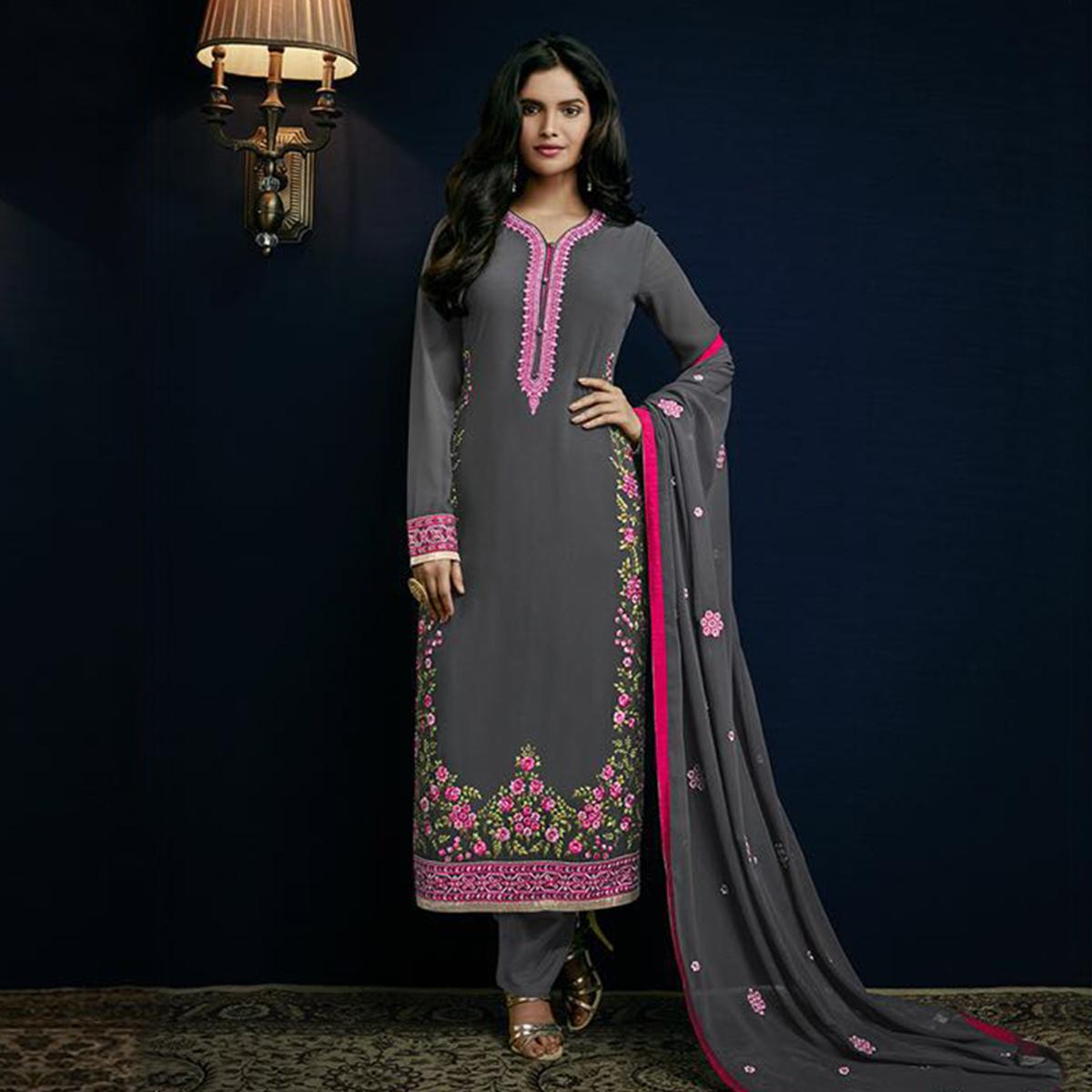 Grey Embroidered Work Salwar Suit