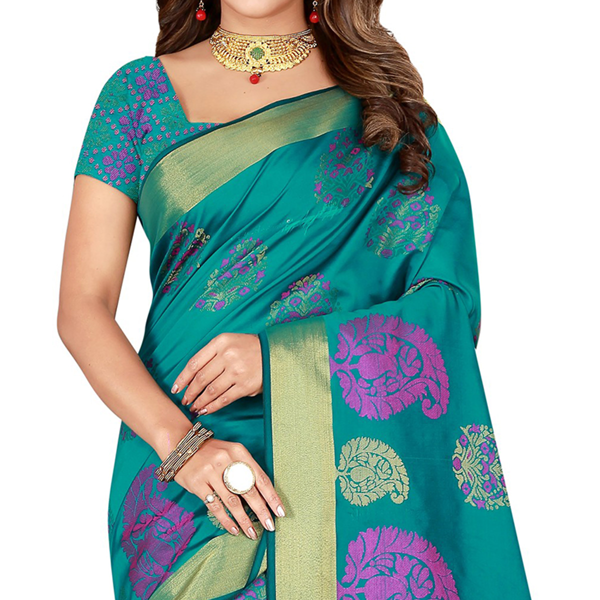 Alluring Turquoise Green Colored Festive Wear Woven Silk Saree