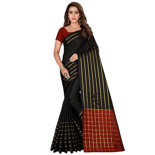 Sensational Black Colored Casual Wear Woven Cotton Silk Saree