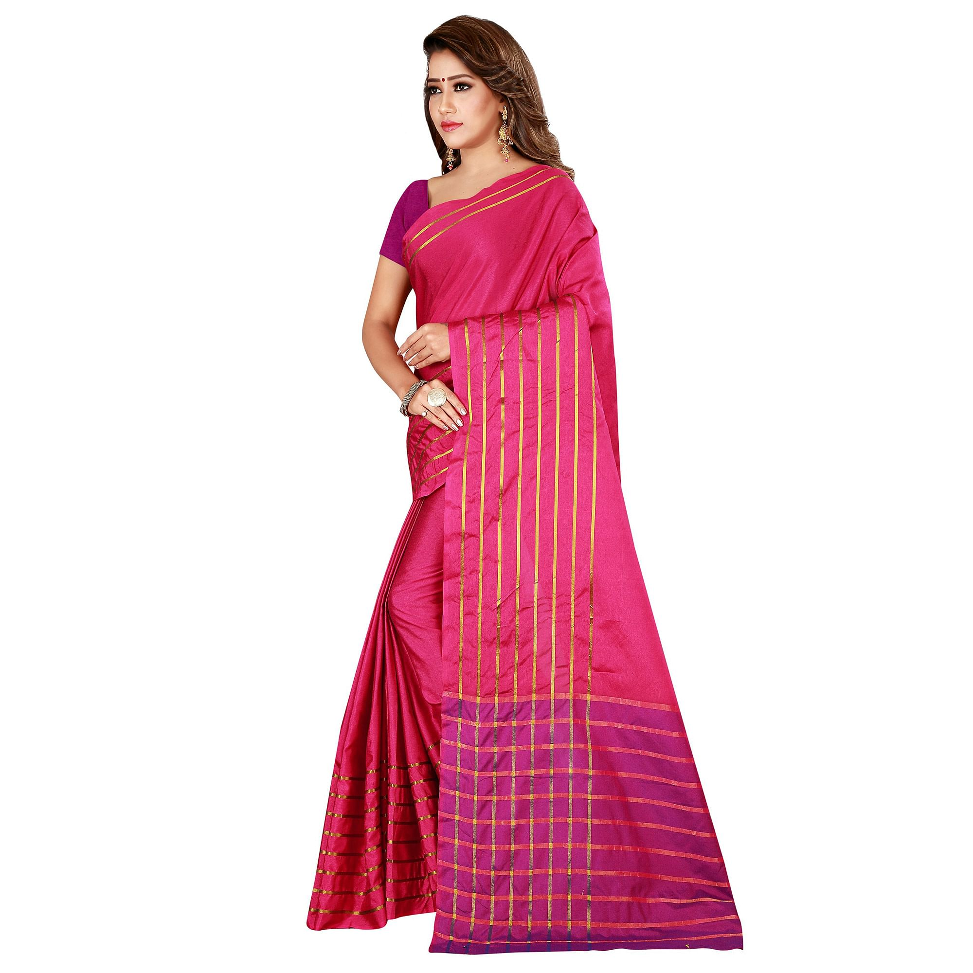 Flaunt Pink Colored Casual Wear Woven Cotton Silk Saree