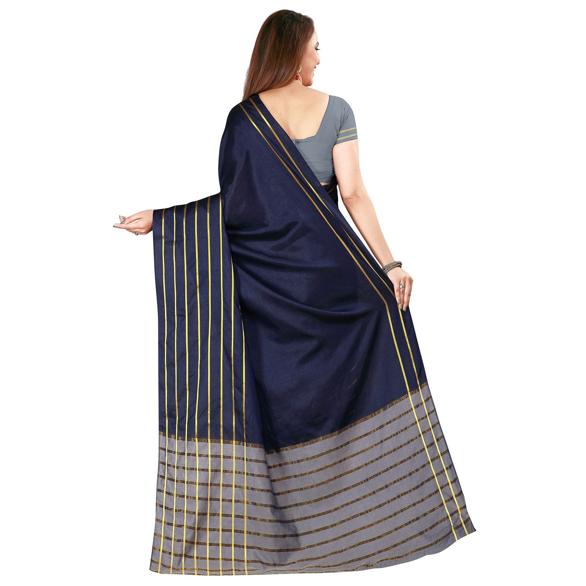 Stunning Navy Blue Colored Casual Wear Woven Cotton Silk Saree