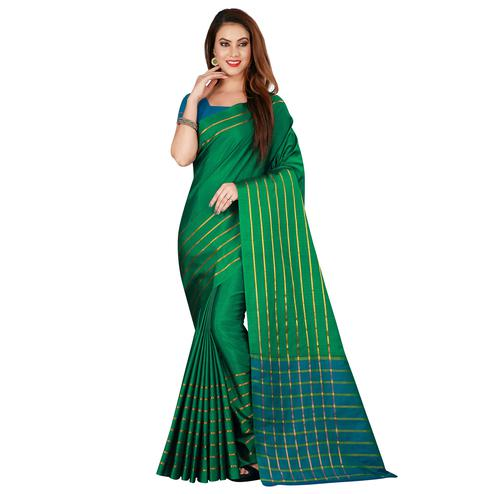 Flirty Green Colored Casual Wear Woven Cotton Silk Saree