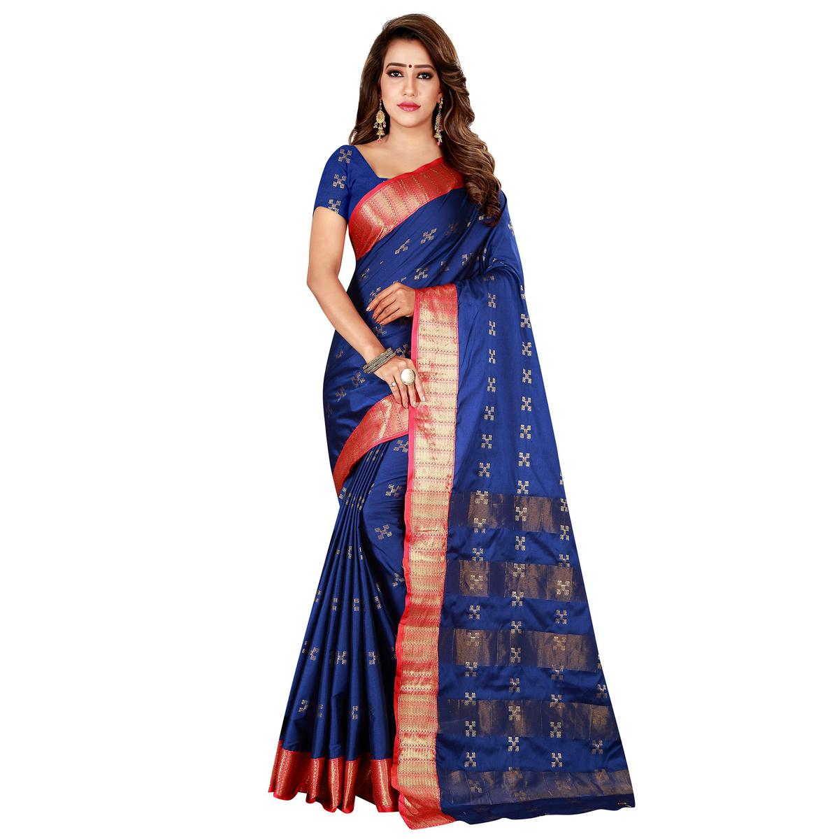 Exotic Navy Blue Colored Festive Wear Woven Cotton Silk Saree