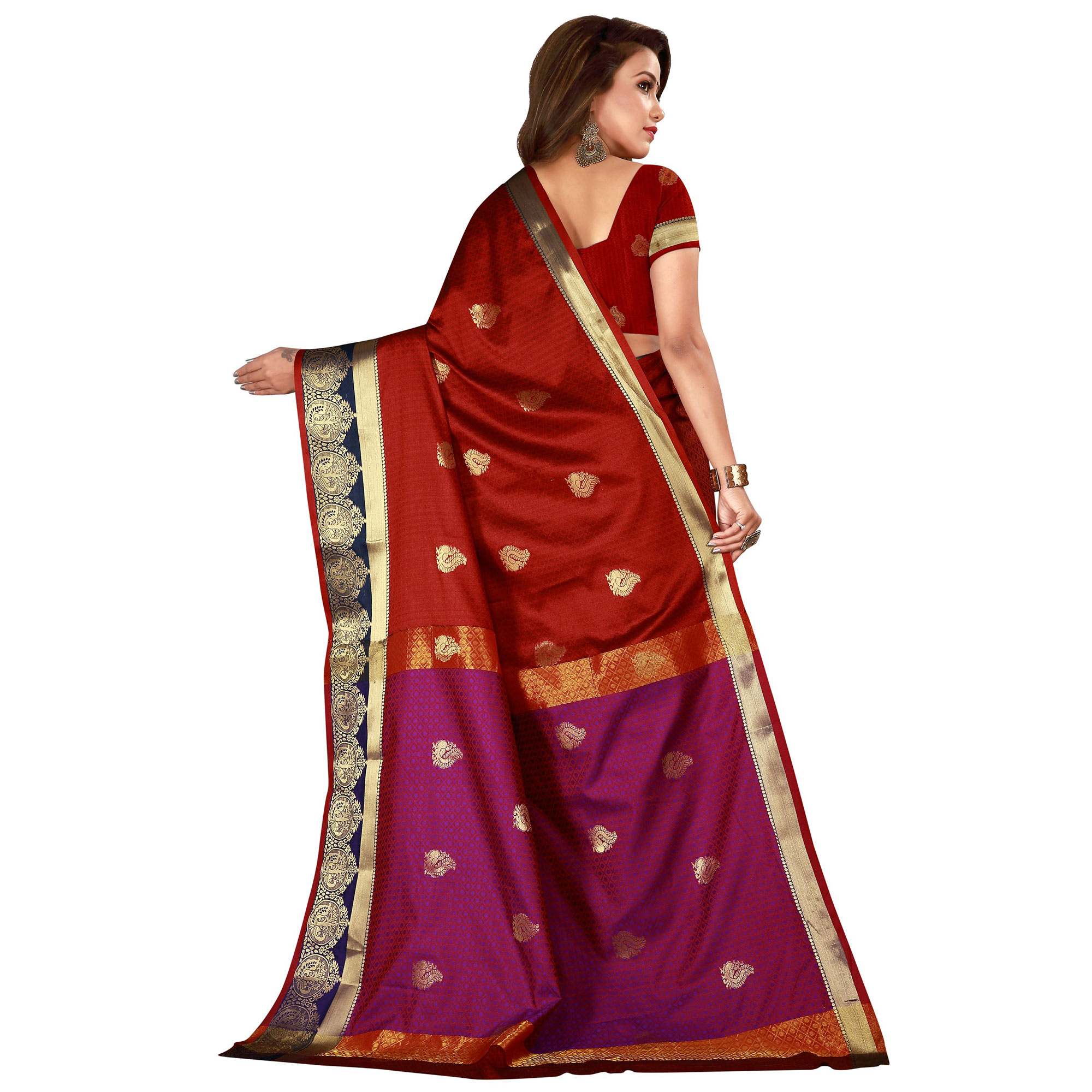 Flattering Maroon Colored Festive Wear Woven Cotton Silk Saree