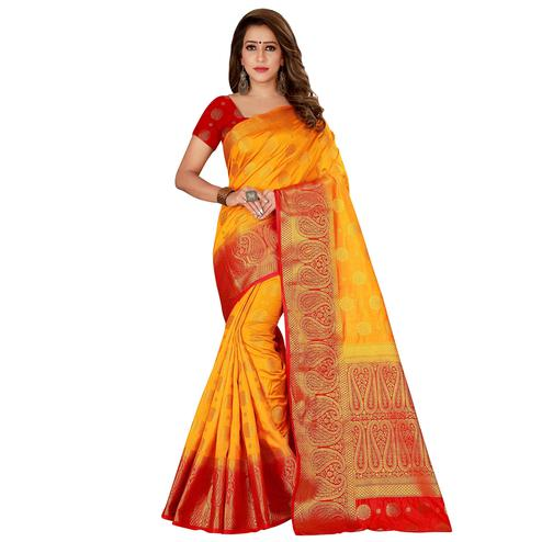 Excellent Yellow Colored Festive Wear Woven Cotton Silk Saree