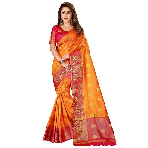 Classy Orange Colored Festive Wear Woven Cotton Silk Saree