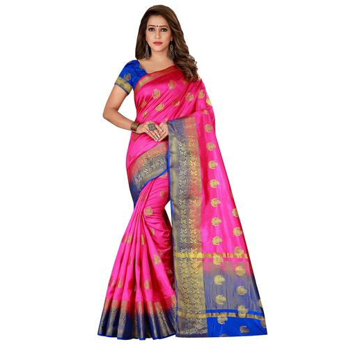 Adorning Pink Colored Festive Wear Woven Cotton Silk Saree