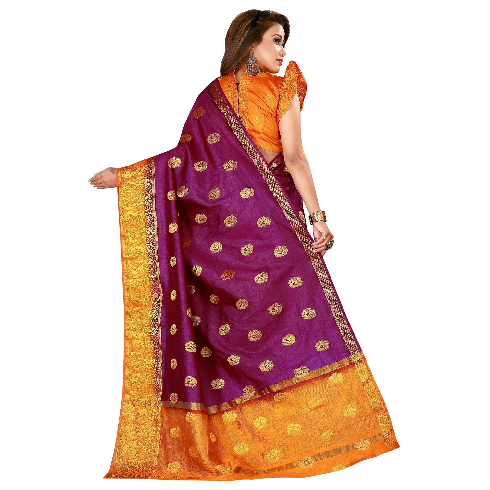 Appealing Violet Colored Festive Wear Woven Cotton Silk Saree