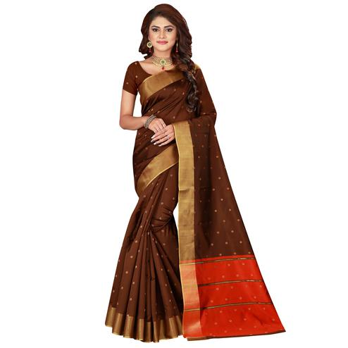 Prominent Brown Colored Festive Wear Woven Cotton Silk Saree