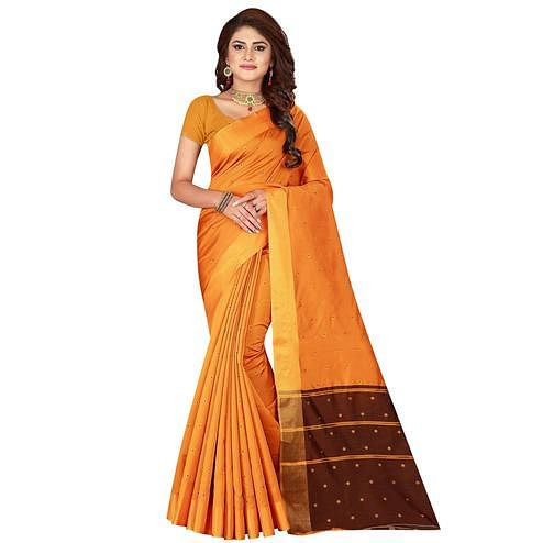 Capricious Light Orange Colored Festive Wear Woven Cotton Silk Saree