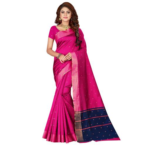 Entrancing Pink Colored Festive Wear Woven Cotton Silk Saree
