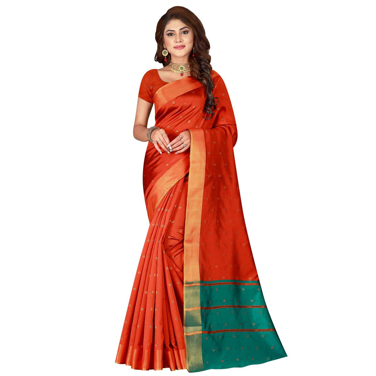 Graceful Orange Colored Festive Wear Woven Cotton Silk Saree