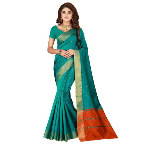 Blooming Turquoise Green Colored Festive Wear Woven Cotton Silk Saree