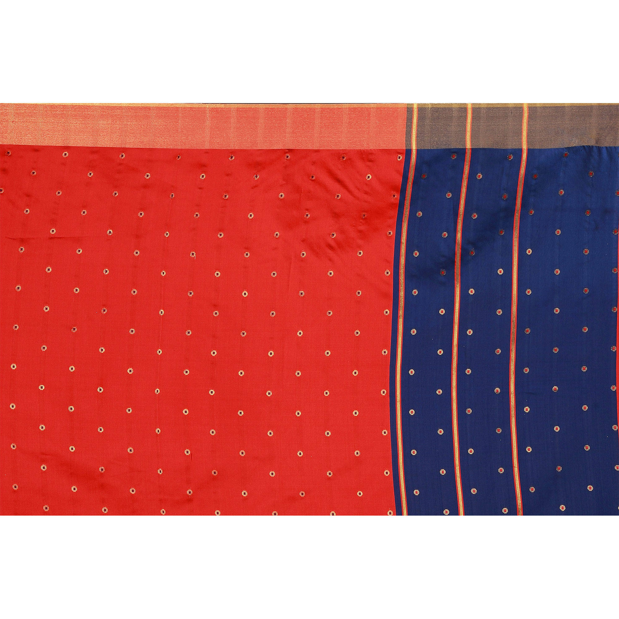 Charming Red Colored Festive Wear Woven Cotton Silk Saree