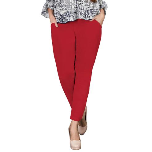 Classy Red Colored Casual Wear Cotton Pant