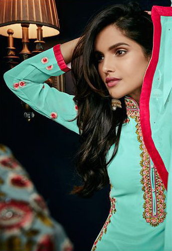 Aqua Blue Festive Wear Salwar Suit