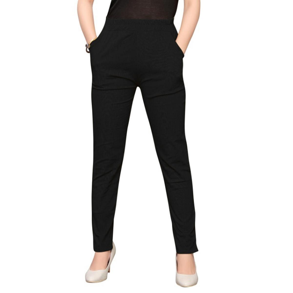 Gleaming Black Colored Casual Wear Stretchable Cotton Pant