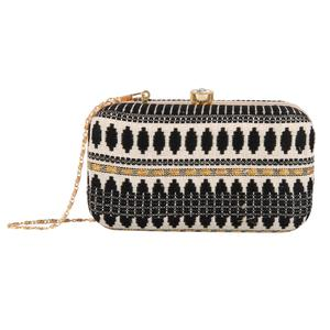 Capricious Black Colored Handcrafted Partywear Embroidered Clutch