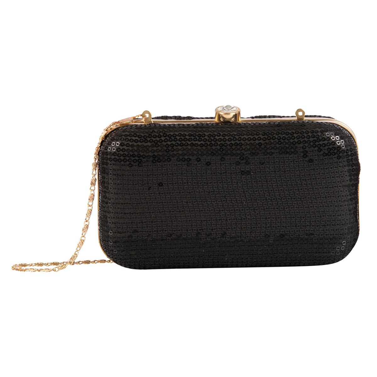 Prominent Black Colored Handcrafted Partywear Embroidered Clutch