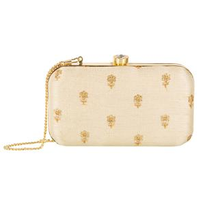 Captivating Beige Colored Handcrafted Partywear Embroidered Clutch
