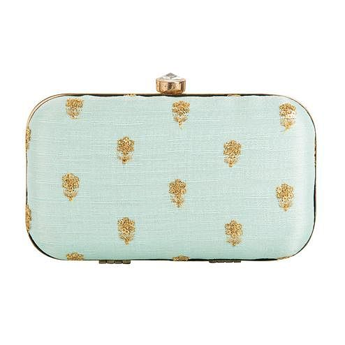 Jazzy Light Blue Colored Handcrafted Partywear Embroidered Clutch