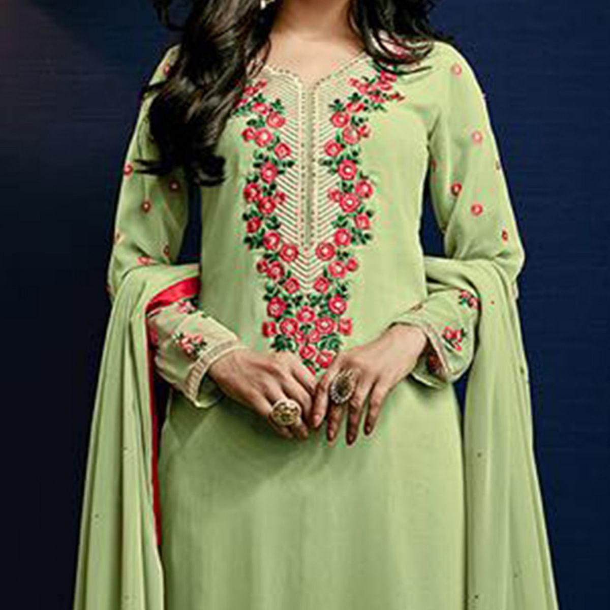Pista Green Semi Stitched Salwar Suit