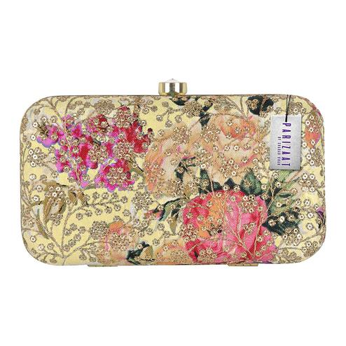 Desirable Beige Colored Handcrafted Partywear Sequin Embroidered Clutch