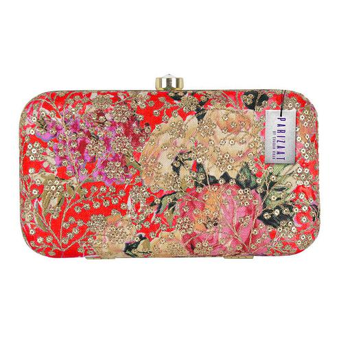 Exotic Red Colored Handcrafted Partywear Sequin Embroidered Clutch
